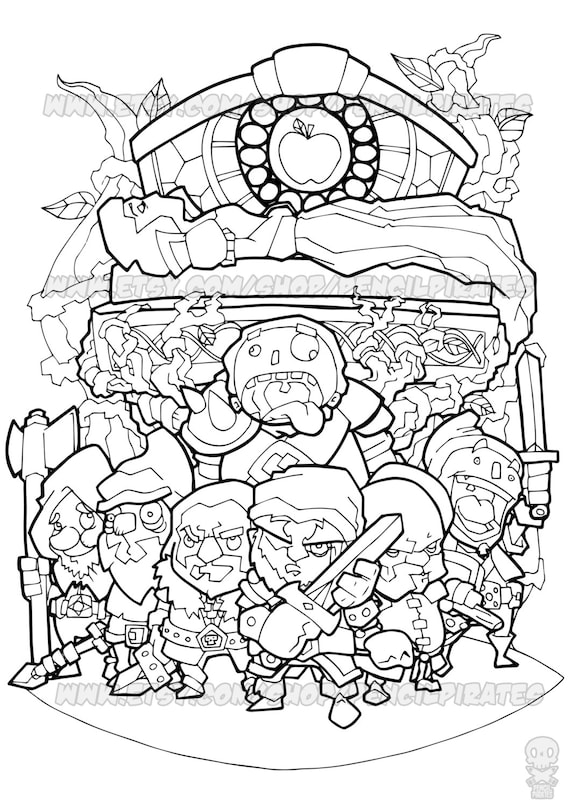 Snow White's Defenders Colouring Page Adult colouring
