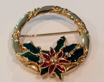 Poinsettia Wreath Brooch, Red and Green Enamel , Clear Rhinestones, Goldtone Wreath, Christmas brooch, Holidays, Pin, Circle Pin