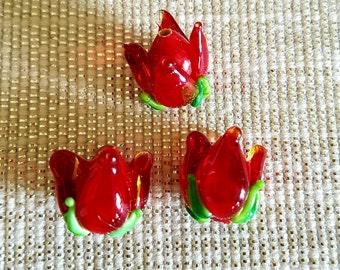 Lampwork beads, flower beads,