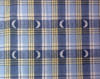 Blue and Yellow Plaid Quilting Fabric - All Cotton Vintage Woven Plaid with Quarter Moons