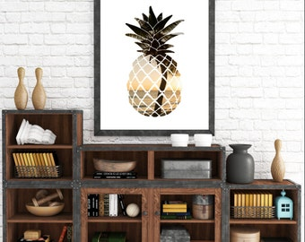 Summer Print, Printable Artwork, Modern Wall Art, Digital Prints, Pineapple Print, Summer Art, Pineapple Art, Tropical Decor, Beach Decor