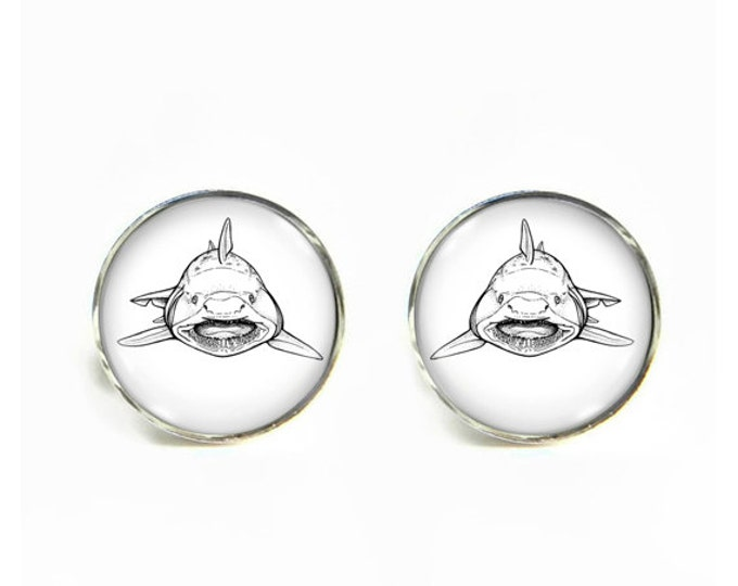 Maneater Shark small post stud earrings Stainless steel hypoallergenic 12mm Gifts for her