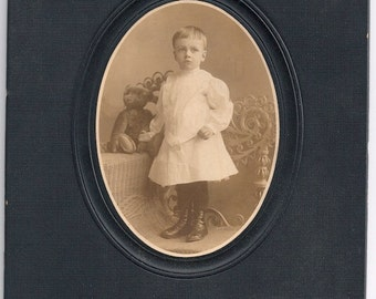 Vintage teddy bear toy Steiff little boy dress sepia child