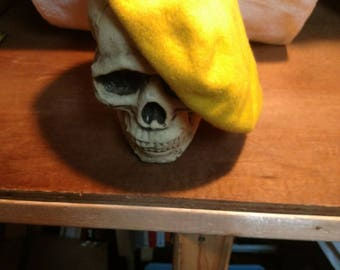 Vintage french maid for gimbals yellow wool beret