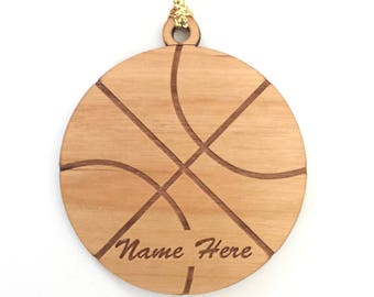 Personalized Wood Basketball Ornament