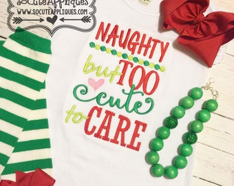 Embroidery design 5x7 6x10 Naughty but too cute to care embroidery saying, socuteappliques, Christmas embroidery, Christmas applique