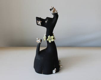 Vintage Lefton Black Scottie Dog Bisque Bell Figurine, YU 90473 Hand Painted, Flowers with Rhinestones, Spaghetti Detail