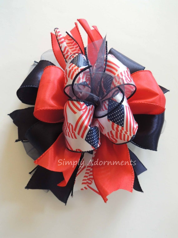 Patriotic Wreath Bow July 4th Wreath Bow Independence day Celebration Decor Navy Red White Patriotic gifts bow Patriotic Door hanger Bow