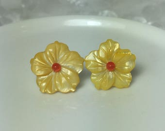 Mother of Pearl Plumeria Flower Earrings in Yellow and Orange