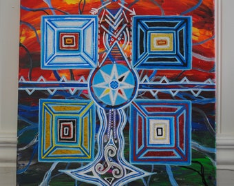 Handmade Original Acrylic Painting - Four Directions - Water Protectors - NoDAPL - Water Is Life - Mni Wiconi - Stand With Standing Rock