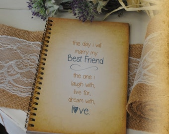 Journal Romance Love - The Day I Marry My Best Friend Custom Personalized Journals Vintage Style Book