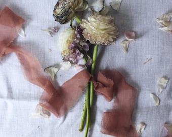 TAN organic hand-dyed silk ribbon