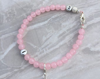 Pink weight loss tracker bracelet, slimming aid, weight loss, lifestyle aid, weight watchers, gift for her, rose quartz bracelet, diet aid