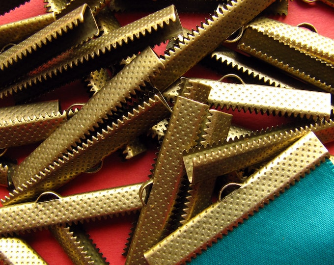 144 pieces 40mm or 1 9/16 inch Antique Bronze Ribbon Clamp End Crimps