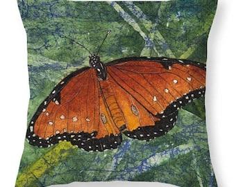 Mother's Day Gift Idea Watercolor Batik Orange Queen Butterfly Decorative Pillow