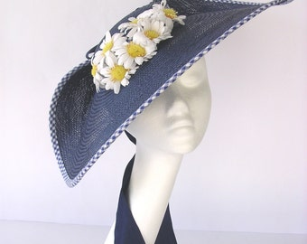 Blue Martini - Hat straw blue daisies flowers and gingham wide-brimmed style vintage 1940 1950 pin up