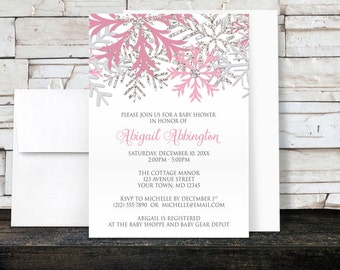 Winter Baby Shower Invitations Girl - Pink and Silver Winter Snowflake design - Printed Invitations
