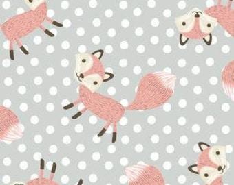 Nursery Flannel Fabric - Fox Dot - 1/2 Yard