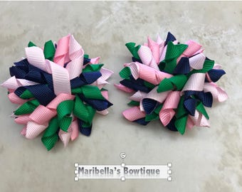 """3"""" Handmade 1 Pair Korker Bows Partially Lined Alligator Clip PINK NAVY baby girl teen Spring Easter Gift Birthday goodie Bags"""
