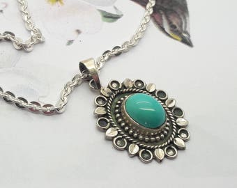 Turquoise Sterling Silver Necklace/24 Inch Sterling Chain/Vintage Turquoise Pendant/Boho/925/Ethnic Jewelry