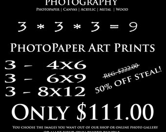 SPECIAL DEAL for 9 Art Prints - plus FREE Shipping on these standard and premium artworks - Save 111 dollars!