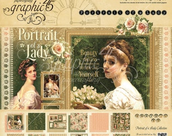 "Graphic 45 ""Portrait of a Lady"" 12 x 12 Paper pad Cardstock Collection"
