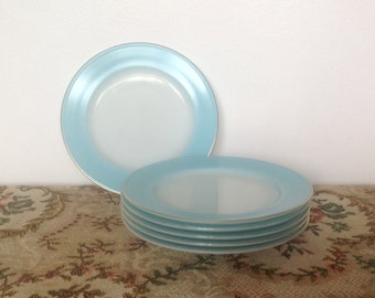 Vintage Pyrex Set of 6 Side Plates. Duck Egg Blue. 1960\u0027s. & Pyrex plates   Etsy