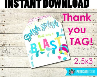 Pool Thank You Tag, Pool Printable, Birthday Printable, Pool Tag, Pool Party, Pool Party Favors, Thank You Tag, Treat Bag, Instant Download