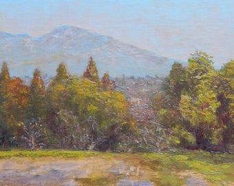 Mt. Diablo View from Las Juntas Park, Pleasant Hill, CA, Original Oil Painting