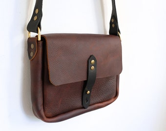Small Leather Satchel, Leather Messenger Bag, Shoulder Bag, Cross-body bag, Ladies Leather Handbag, Brown & Black Handbag, Small Bag