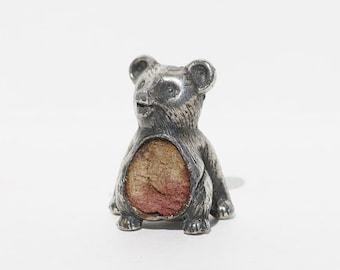 Silver Bear, Little Silver Statue, Sterling Silver Figurine, Pin cushion, Solid Silver Bear, Silver Bear, Silver Figure, Silver Bear
