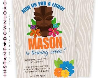 Luau Invitation / Hawaiian Invitations / Luau Birthday Invitation / Luau Party / Luau Party Invitations / Luau Invite / Luau Birthday | 147