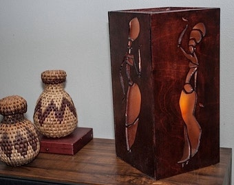 Lighted African Wood Candle Box with Acrylic Inserts