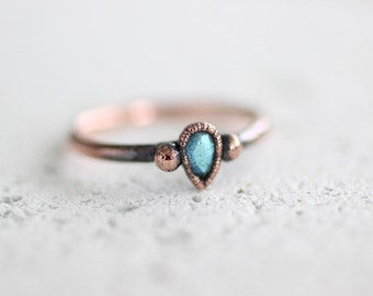 Pear Labradorite Copper Faceted Ring Electroformed Copper Jewelry Tear Drop