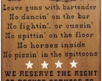 Saloon Rules Western Primitive Rustic Distressed Country Wood Sign Home Decor