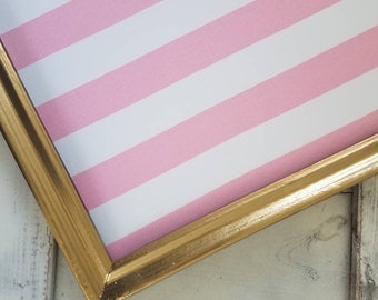 Pink and White Stripe FABRIC PIN BOARD - Gold Framed Memo Board- Nursery Decor - Shabby Chic  Simple Frame Bulletin Board Magnet Board Large