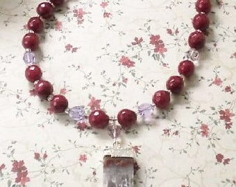 Necklace Ruby Red Agate Faceted Beaded Amethyst Geo Druzy Pendant Swarovski Crystals Amethyst