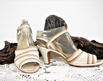 Vintage 1940's Peep Toe Sandals Sz 8 B / 40's Pin Up Red Cross Brand Shoes / Cream and Brown Peep Toe Sandals