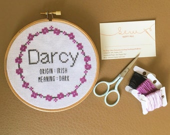 Completed Personalised Cross Stitch Picture - Baby Name - Range of Colours Avaialable - Namign Ceremony - Christening - New Baby
