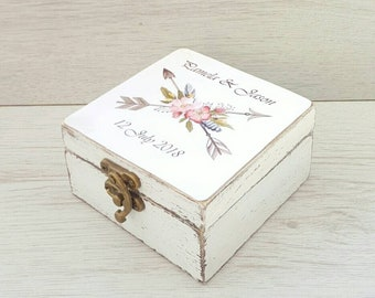 Arrows wedding ring box, Personalized ring bearer box, Rustic ring holder, Wooden wedding box, Ring pillow, Custom ring box, Engagement box