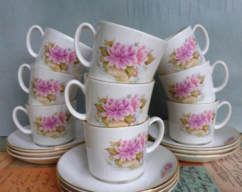 Figgjo Norway Coffee Cups and Saucers Vintage Coffee Cups Floral Pattern