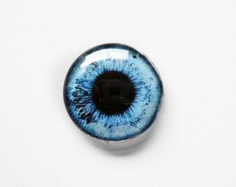 20mm handmade glass eye cabochon - pale blue eye - standard profile