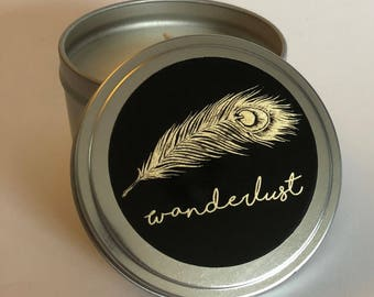 8 fl oz Wanderlust Soy Candle in a Candle Tin