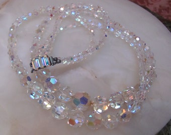 Vintage 1960's AURORA BOREALIS Austrian Crystal Double-Strand Beaded Necklace