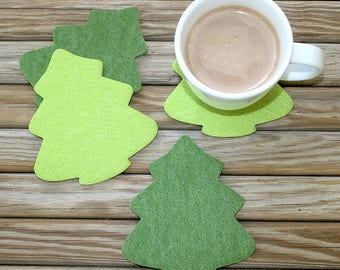 Felt Coasters Christmas Tree Winter Holiday Coaster Set in 4mm Thick Vegan Friendly Felt Table Decor Absorbent Cork Backed