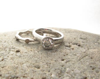 Platinum wide band engagement ring,  lab created diamond, bezel set solitaire, low profile engagement ring with wide hammered band