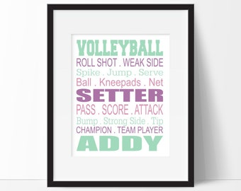 Volleyball Gifts - Volleyball Bedroom Decor - Girl Sports Decor - Teen Room - Children's Room - Playroom Decor - Volleyball Gift Under 10