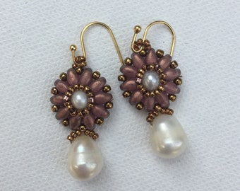 Mauve and Pearl Flower Dangle