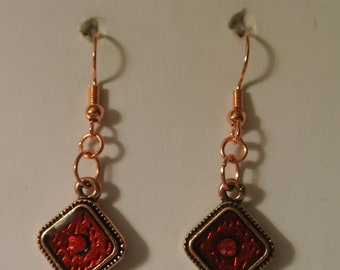 Red Earrings with Rose Gold Fishhook