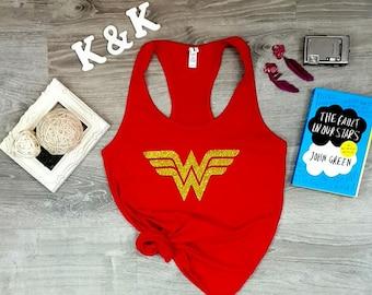 Wonder Woman Glitter Tank Top Costume, Wonder Woman Shirt, Inspired Super Hero, Wonder Woman Costume, Wonder Woman Tank Top